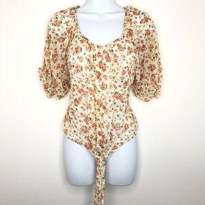 Poetry Tie Front Button Down Floral Top Sz L